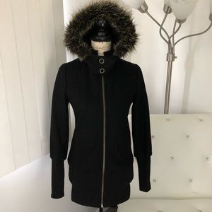 Maria D Wool Blend Detachable Hood Winter Coat XS